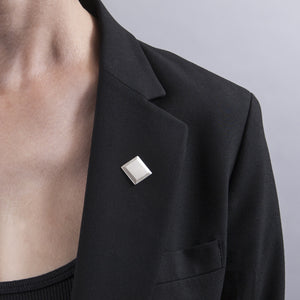 Sterling Silver Bevelled Square Lapel Pin