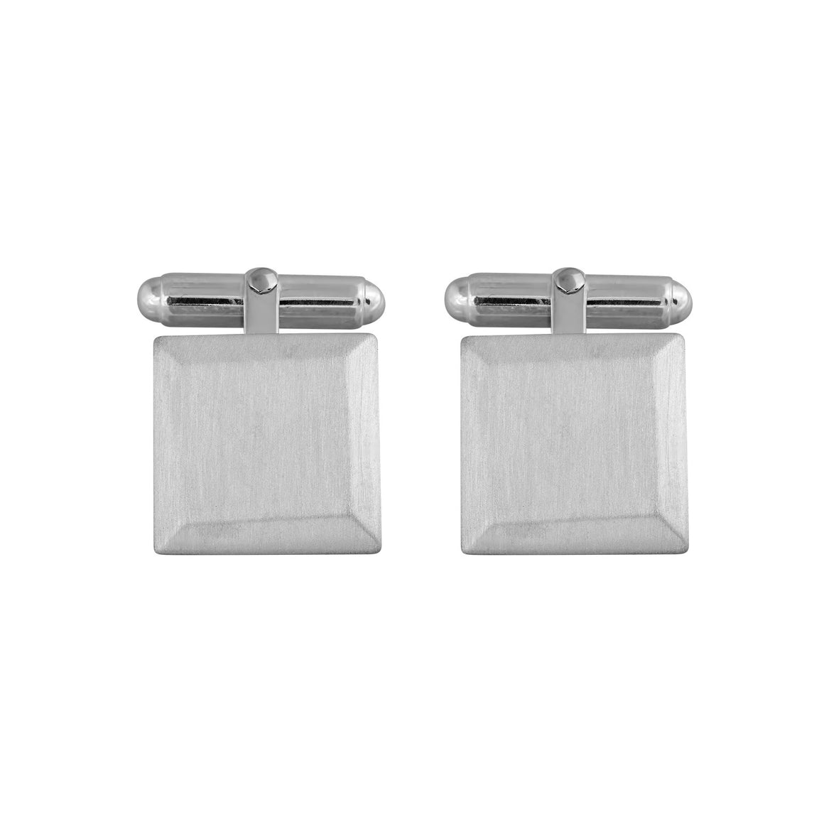 Bevelled Square Cufflinks in Matt Sterling Silver
