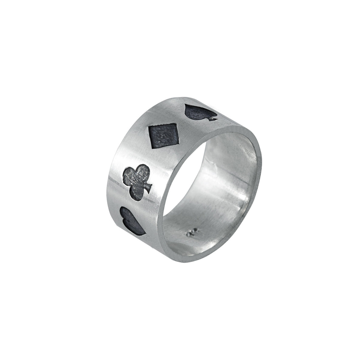 Edge Only Poker Ring Oxidised in Sterling Silver