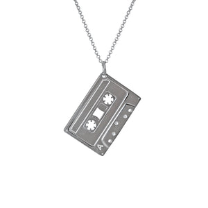 Electronic Sheep X Edge Only Mixed Tape Pendant in sterling silver  A side