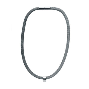 Circular Bead Mesh Necklace in Sterling Silver