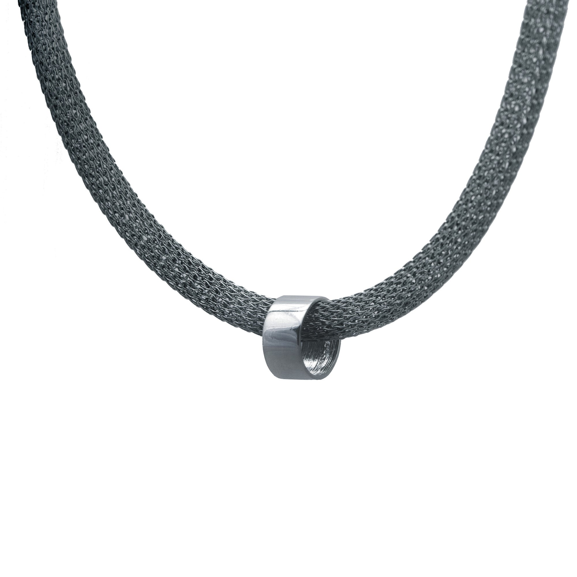 Edge Only Circular Bead Mesh Necklace in Sterling Silver