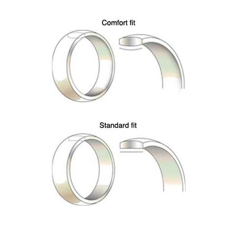 D Shaped Comfort Fit Band 8mm - 9ct White Gold
