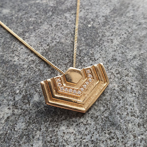 Diamond Hexagon Pendant - 14ct Gold