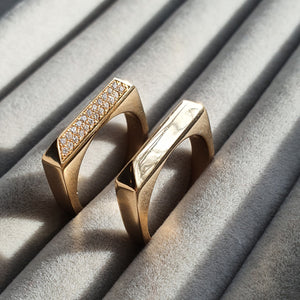 Edge Only Rooftop Rings wedding bands in 14 carat gold