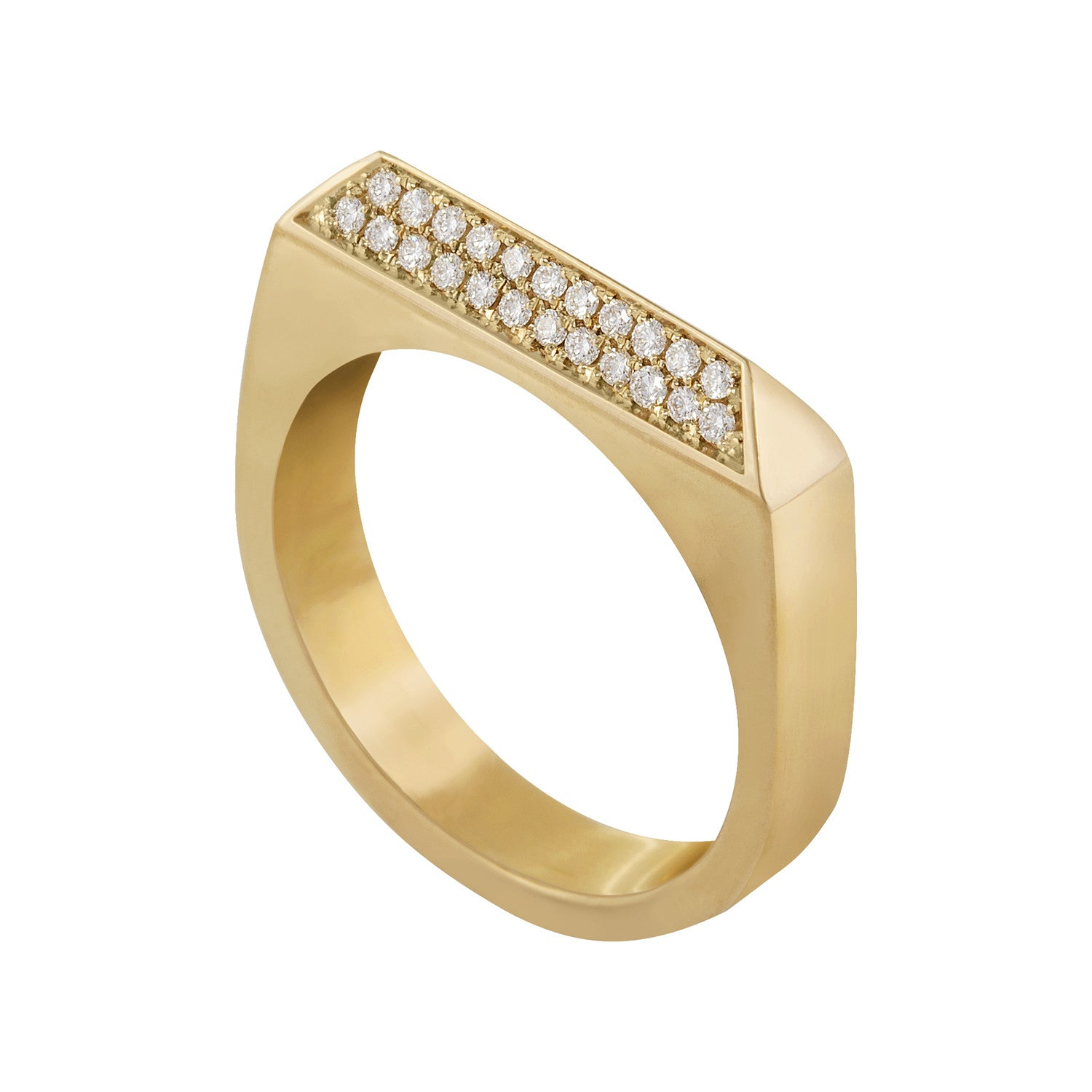 Double Diamond Rooftop Ring in 14 carat gold