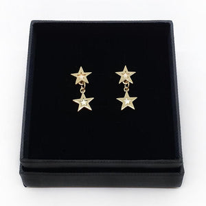 9ct Gold Megastar Doublestar Drop Earrings
