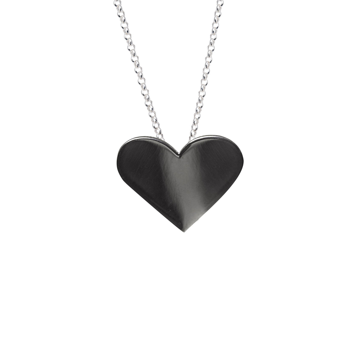 Edge Only Black Heart Pendant in sterling silver