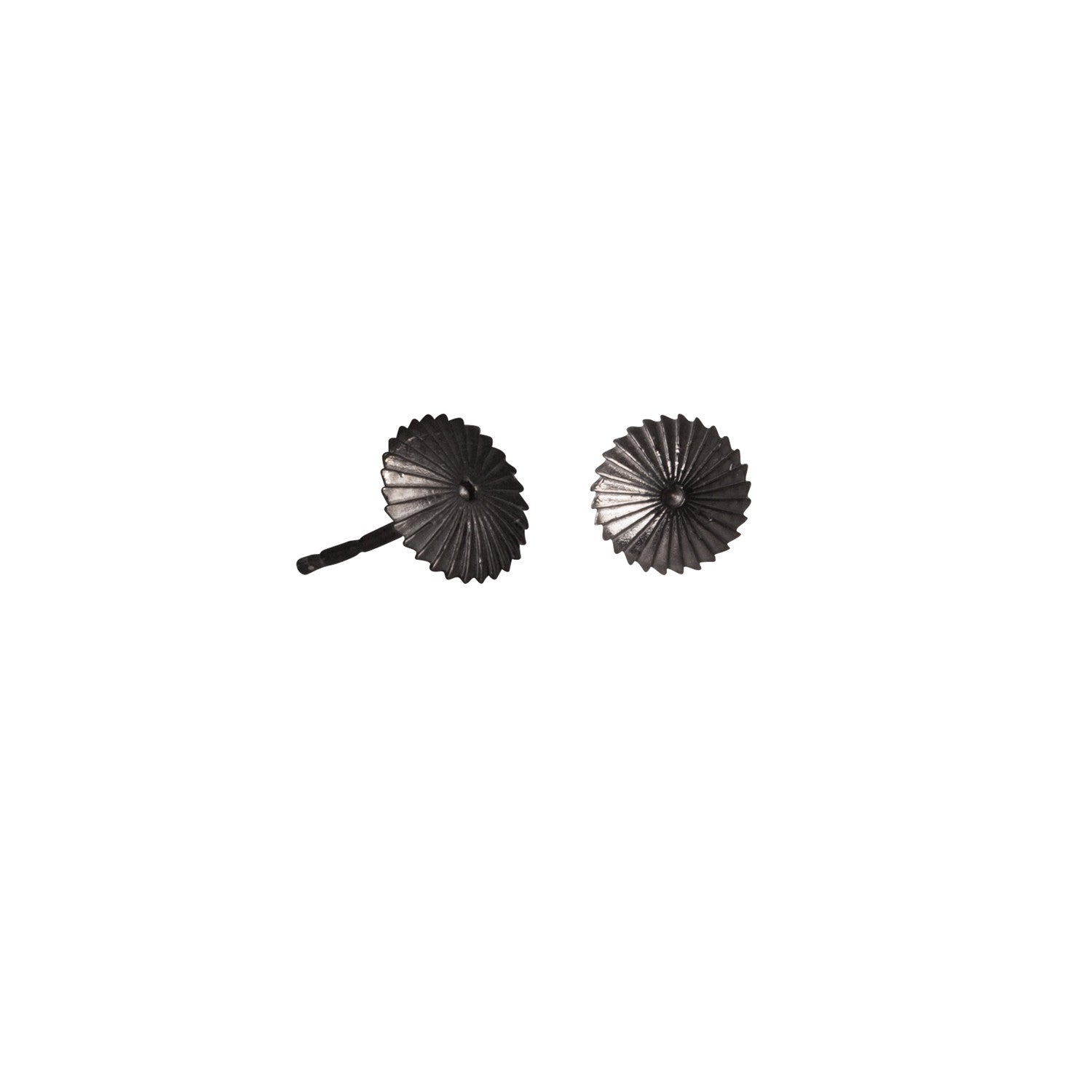 Edge Only Spiral Burr Earrings in Black Rhodium