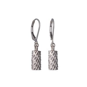 Edge Only Diamond Cut Cylinder Drop Earrings in sterling silver