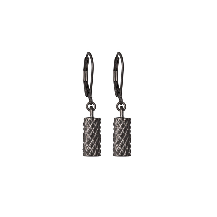 Diamond Cut Cylinder Drop Earrings black rhodium