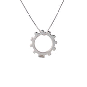 Edge Only Gear Pendant in sterling silver