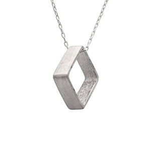 Edge Only Large Square Pendant in Sterling Silver