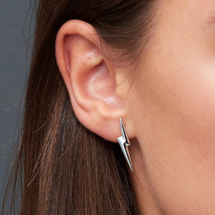 Edge Only 3D Pointed Lightning Bolt Earrings in Sterling Silver Stormfront earrings in The Boys on Prime Video