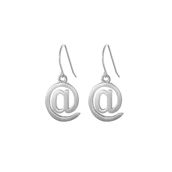 Edge Only At Symbol Drop Earrings in matt satin Sterling Silver