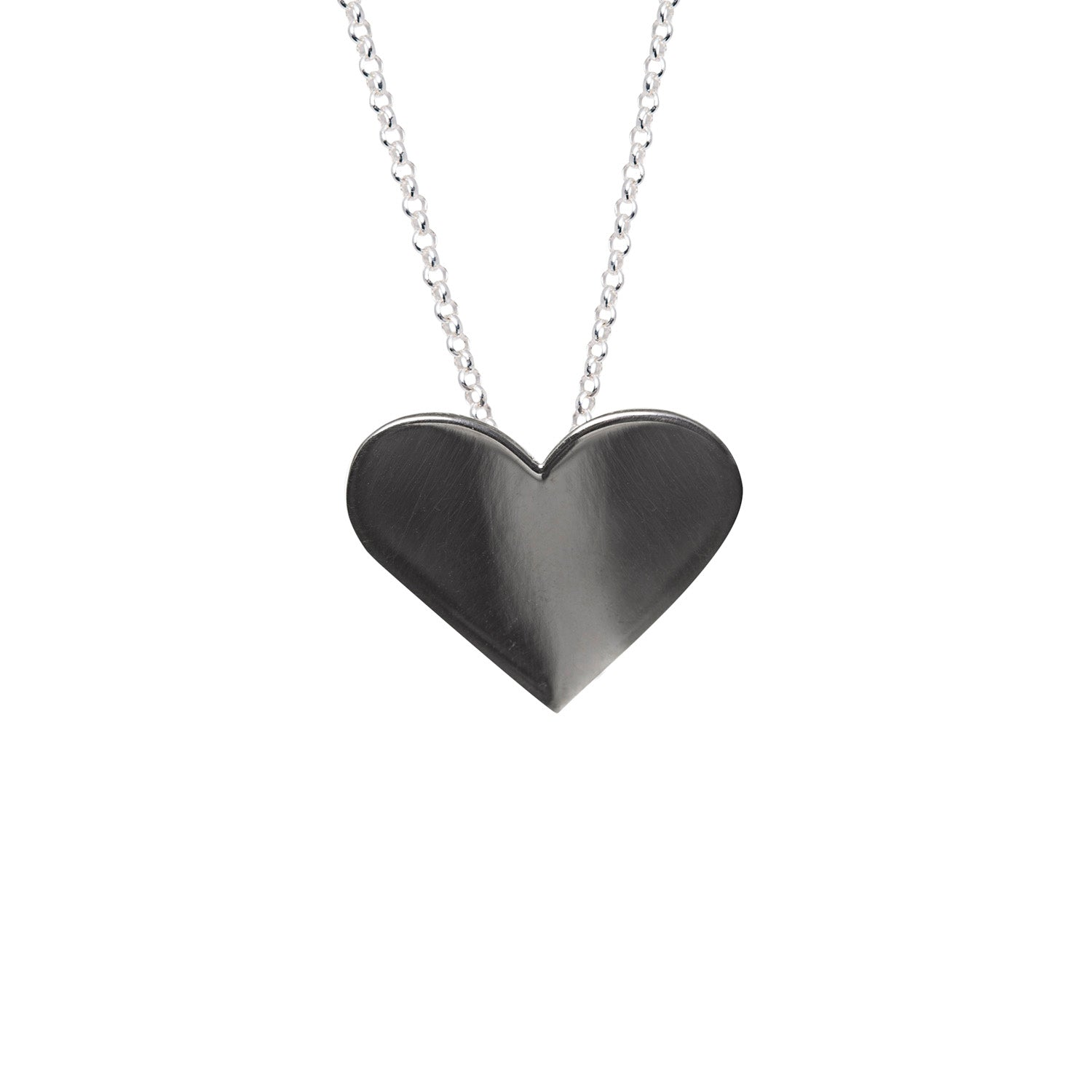 Edge Only Black Heart Pendant in black rhodium sterling silver