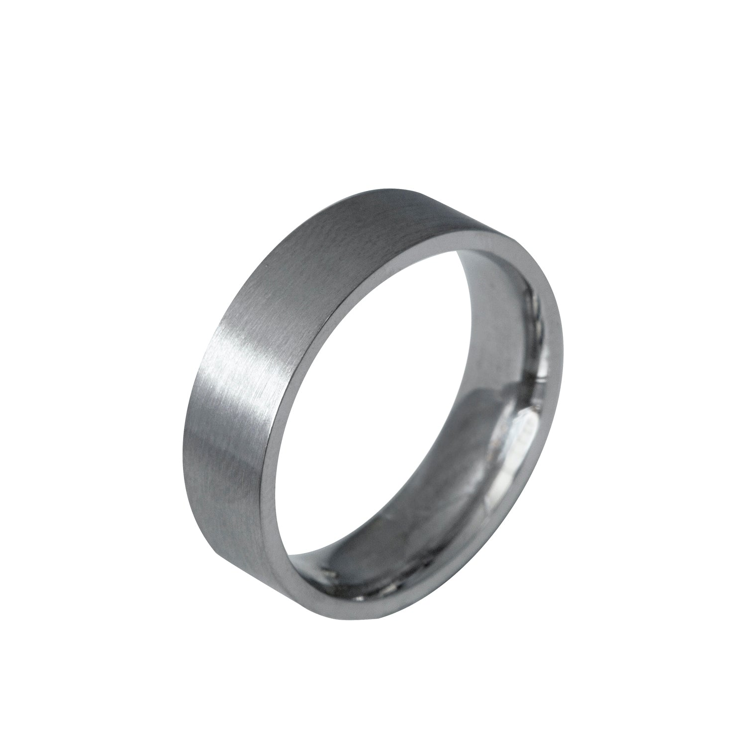 Edge Only Flat Matt Comfort Fit 6mm Band in 9ct White Gold
