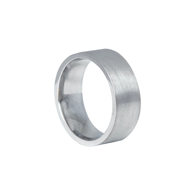 Edge Only Flat Matt comfort fit band 8mm in 9ct white gold