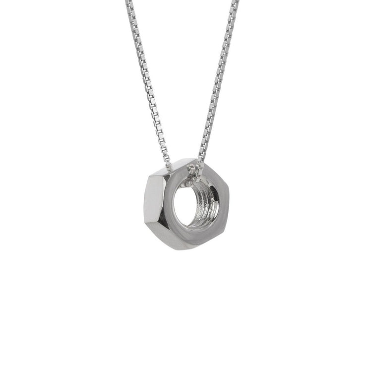 Edge Only Hex Nut Pendant XL in Sterling Silver