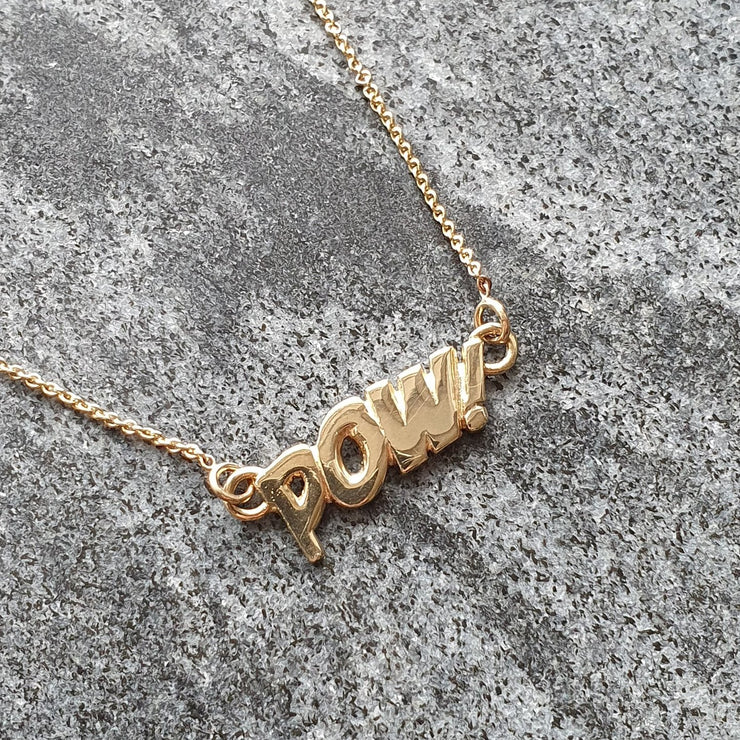 Edge Only POW! Letters Necklace in 14ct gold