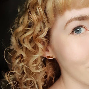 Edge Only POW! and BAM! Letter Earrings in 18ct gold vermeil