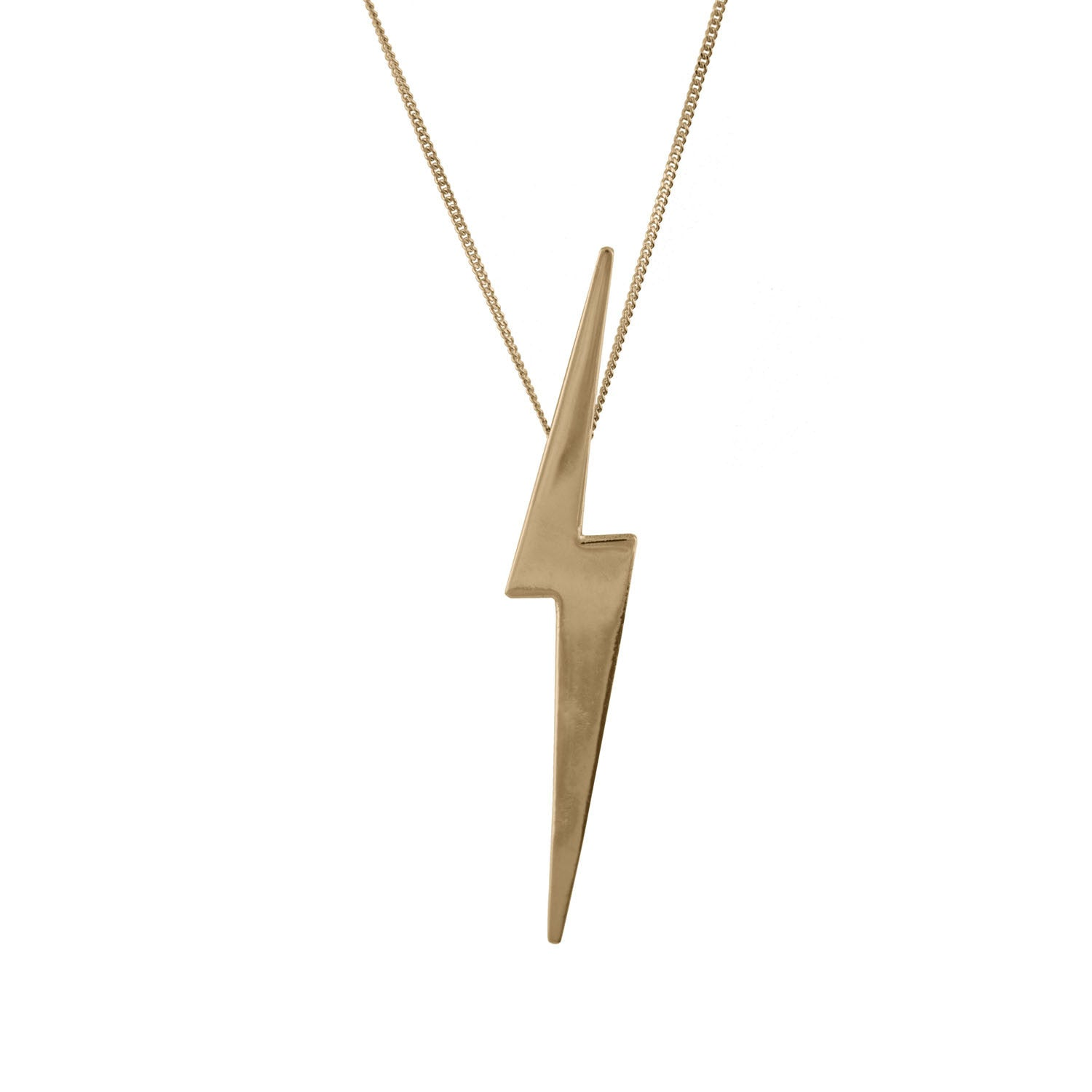 Skinny lightning bolt necklace in 14 carat gold edge only skinny lightning bolt pendant in 14 carat gold mozeypictures Image collections