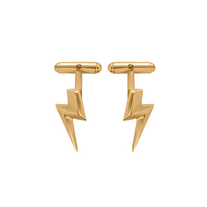 Edge Only 3D Flat Top Lightning Bolt Cufflinks in 18ct gold vermeil