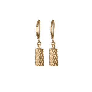 Edge Only Diamond Cut Cylinder Drop Earrings in 18ct gold vermeil
