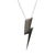 Edge Only Flat Top Lightning Bolt Pendant in Black Rhodium