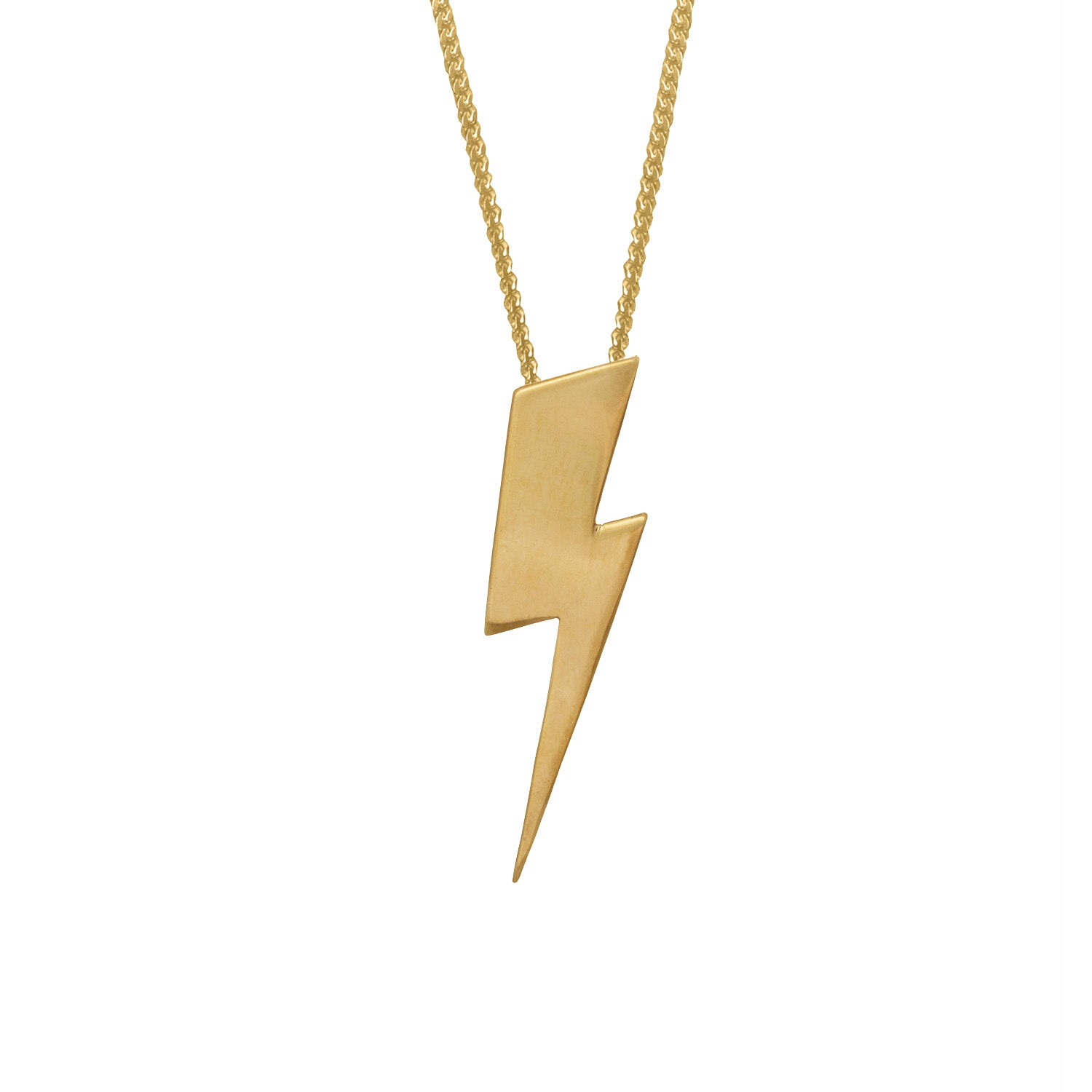 Edge Only Flat Top Lightning Bolt Pendant in Sterling Silver
