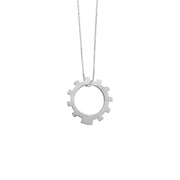 Gear Necklace Mens in matt satin sterling silver