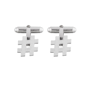 Hashtag Cufflinks in matt satin sterling silver