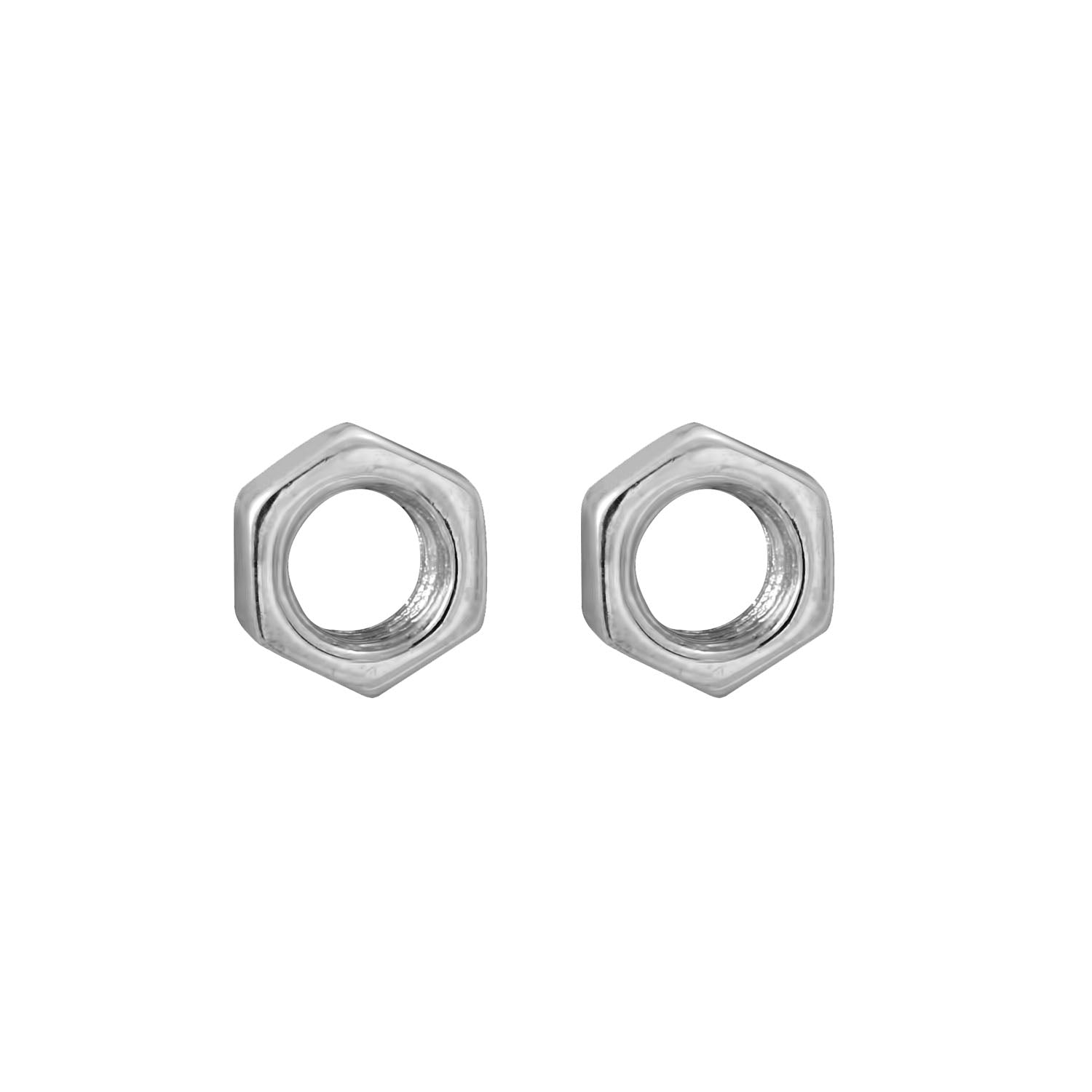 Edge Only Hex Nut Earrings in sterling silver