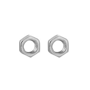 Hex Nut Earrings in sterling silver