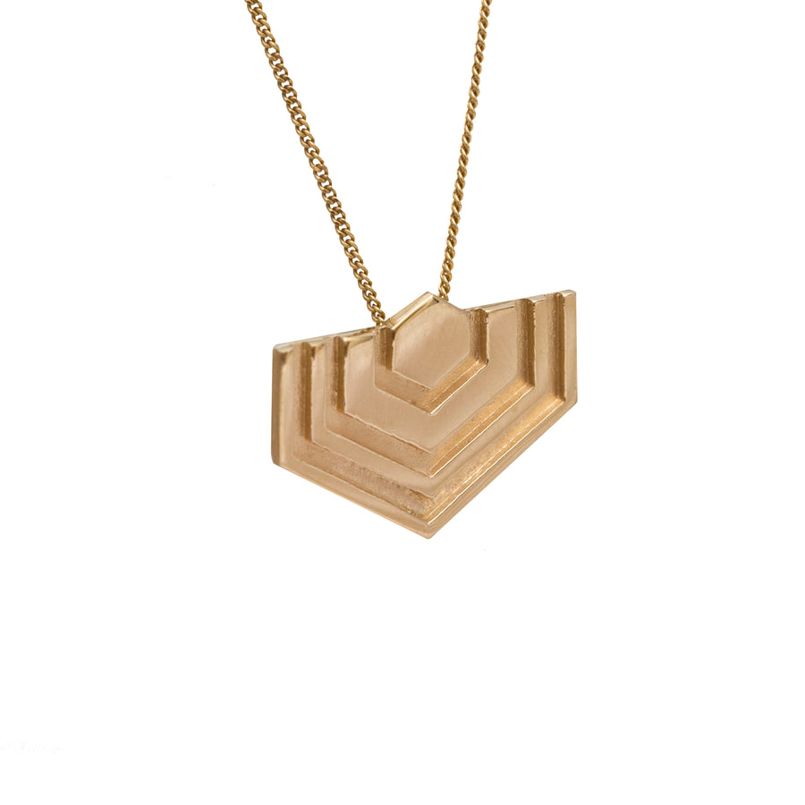 Edge Only Hexagon Pendant in 14 Carat Gold EOxLH
