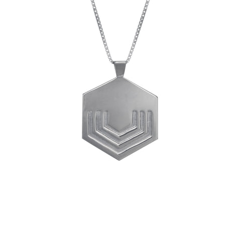 Hexagon Necklace Large in sterling silver EOxLH
