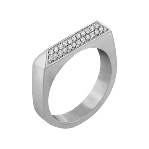 Edge Only Double Diamond Rooftop Ring in Platinum