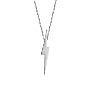 Edge Only Pointed Lightning Bolt Pendant in Sterling Silver