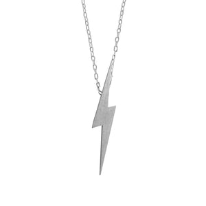 Edge Only Pointed Lightning Bolt Pendant in matt satin sterling silver