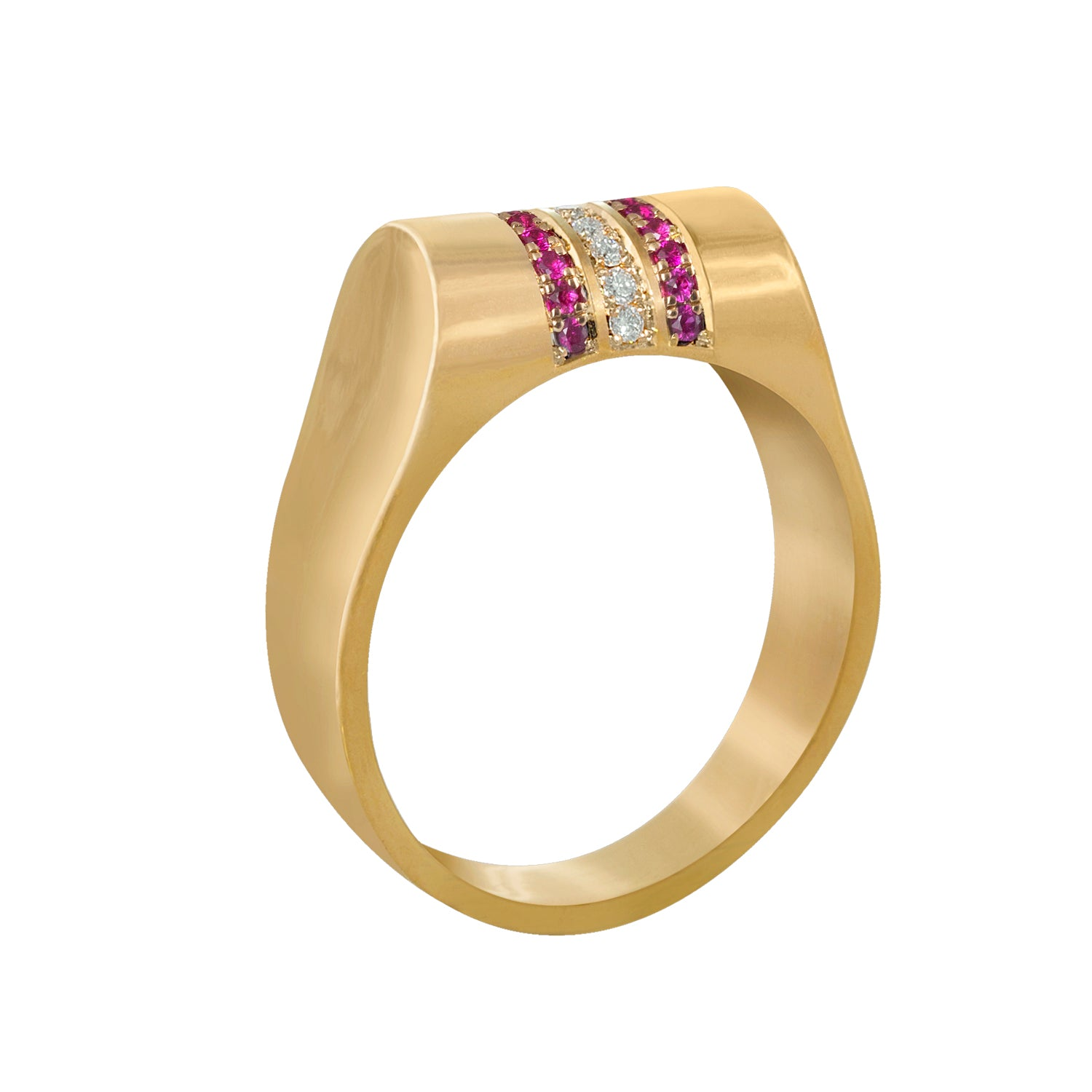 Edge Only Ruby and Diamond High Top Ring in 14ct gold