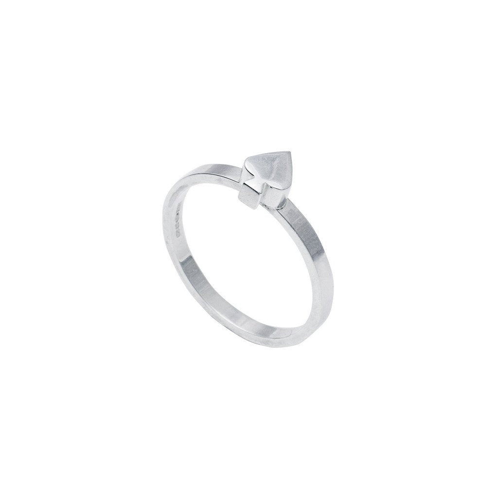 Edge Only Card Spade stacking ring in sterling silver