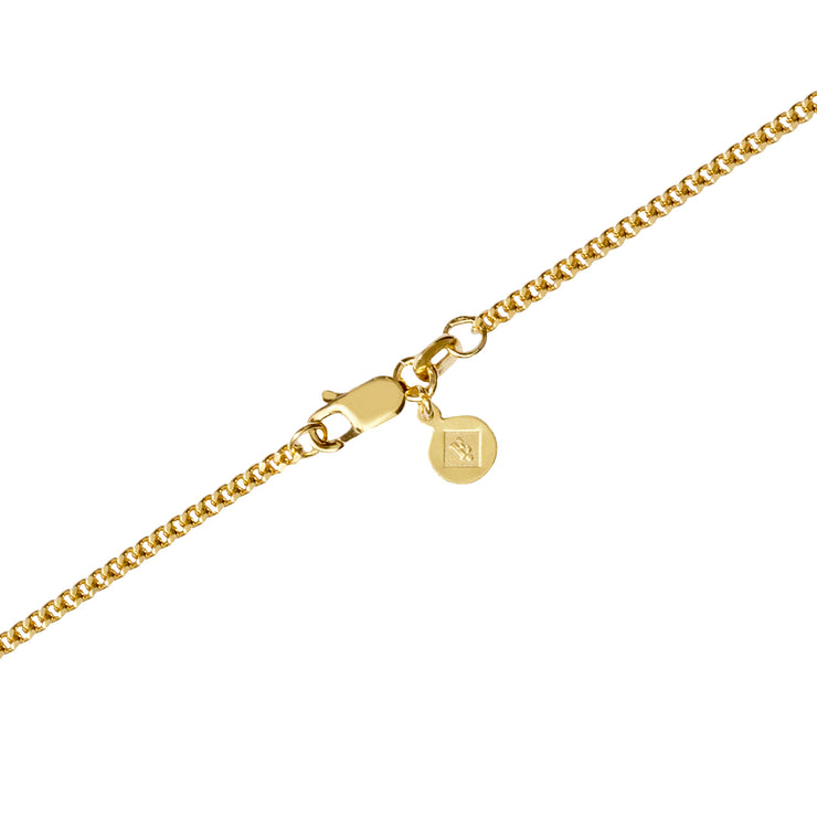 Edge Only 2mm curb chain clasp and tag in 18ct gold vermeil