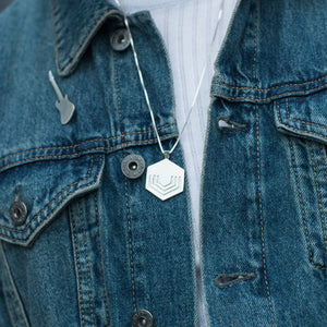 Edge Only Hexagon Pendant Large and Electric Guitar Pin in sterling silver