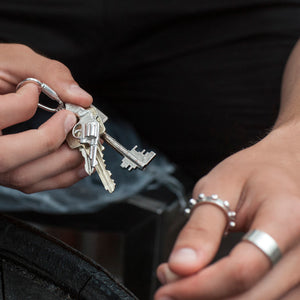 Edge Only Revolver Key Chain in sterling silver