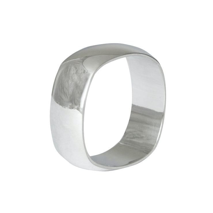 Edge Only Squared Off D Shaped Band 8mm in 9ct white gold