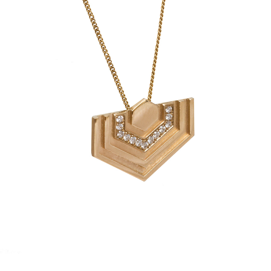 Diamond Hexagon Necklace in 14 Carat Gold