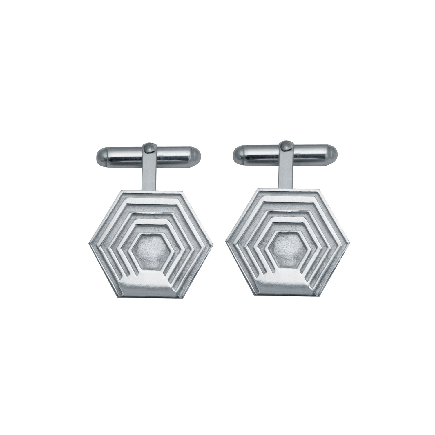 Edge Only Hexagon Cufflinks in sterling silver EOxLH