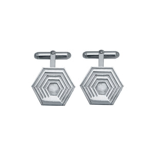 Edge Only Hexagon Cufflinks in sterling silver