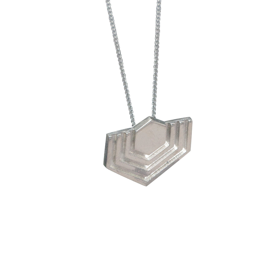 Edge Only Abstract Hexagon Pendant in sterling silver EOxLH