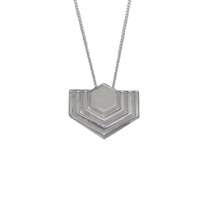 Edge Only Hexagon Pendant in sterling silver EOxLH